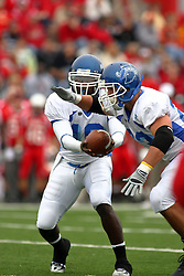 13 October 2007: Charles Dowdell hands off to Bryan McCulley. The Indiana State Sycamores were jacked 69-17 by the Illinois State Redbirds at Hancock Stadium on the campus of Illinois State University in Normal Illinois.