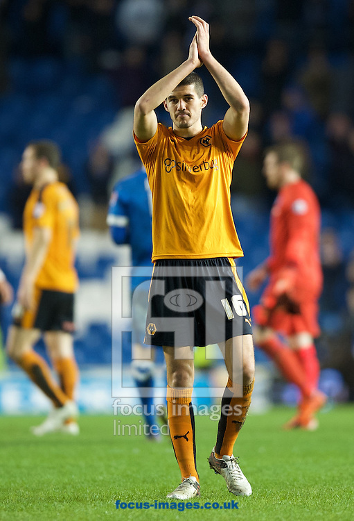 Conor Coady of Wolverhampton Wanderers  thanks the fans after their 0-1 win in the Sky Bet Championship match at the American Express Community Stadium, Brighton and Hove<br /> Picture by Alan Stanford/Focus Images Ltd +44 7915 056117<br /> 01/01/2016