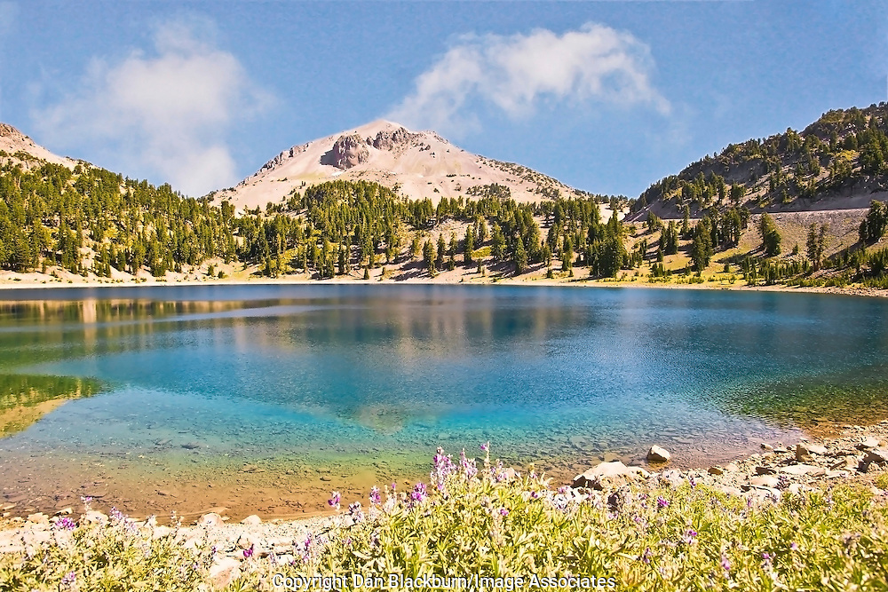Lassen Peak Rises Above Helen Lake in Lassen National Park California.
