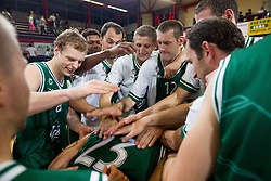 Brian Casey Mitchell of Olimpija with Jaka Blazic, Deon Thompson, Zeljko Zagorac, Gezim Morina, Goran Jagodnik, Goran Jeretin celebrate after the basketball match between KK Helios Domzale and KK Union Olimpija Ljubljana in 2nd semifinal of Telemach Slovenian Champion League 2011/12, on May 10, 2012 in Arena Komunalni center, Domzale, Slovenia. Union Olimpija defeated Helios 81-78 after overtime and qualified to finals. (Photo by Vid Ponikvar / Sportida.com)