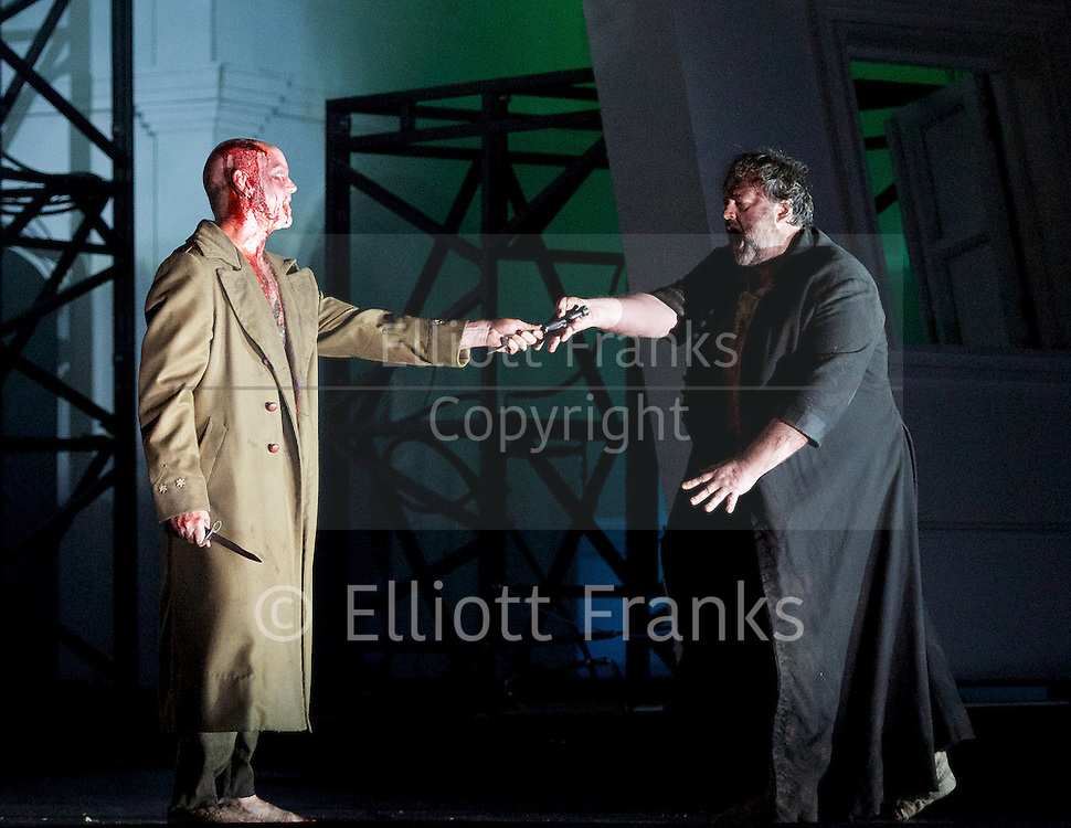The Force of Destiny <br /> by Verdi <br /> English National Opera and the London Coliseum, London, Great Britain <br /> rehearsal<br /> 6th November 2015 <br /> <br /> <br /> Anthony Michaels-Moore as Don Carlo di Vargas<br /> <br /> Gwyn Hughes Jones as Don Alvaro <br /> <br /> <br /> <br /> Photograph by Elliott Franks <br /> Image licensed to Elliott Franks Photography Services
