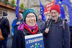 One of the demonstrators demanding the UK stays in the EU in a rally to the Scottish Parliament 24032018 pic copyright Terry Murden @edinburghelitemedia 07971 686038
