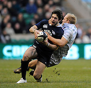 Twickenham, GREAT BRITAIN,  Oxfords' Sean MORRIS, tackled by Cambridge centre, Chris LEWIS, during the 2008 Varsity Rugby match Oxford vs Cambridge played at the RFU Stadium Twickenham, Surrey on  Thursday, 11/12/2008 [Photo, Peter Spurrier/Intersport-images]