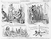 """Illustrated report of the Rebel General Joe Johnson's appreal to his Troops"":  ""Accustomed to the Comforts and luxuries of home"" (whipping a slave while sipping a drink)  ""The rich results of your patriotism are before you"" (lynching)    ""By your valour and firmness the Nations of the earth have been forced to  see us in our true character""  (passed out drunk while gambling)  ""And all that is precious hangs trembling in the balance""  (slave dangling from scale) General Johnson's address Feb 4th 1862. Civil War Anti Slavery Cartoons Harper's Weekley March 1, 1862"