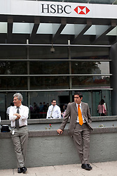Outside the HSBC headquarters in Mexico City