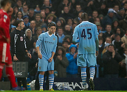 11.01.2012, Etihad Stadion, Manchester, ENG, Carling Cup, Manchester City vs FC Liverpool, Halbfinale, im Bild Manchester City's Mario Balotelli walks off the pitch being substituted with Samir Nasri during the football match of English Carling Cup, Halffinal, between Manchester City and FC Liverpool at Etihad Stadium, Manchester, United Kingdom on 2012/01/11. EXPA Pictures © 2012, PhotoCredit: EXPA/ Propagandaphoto/ David Rawcliff..***** ATTENTION - OUT OF ENG, GBR, UK *****