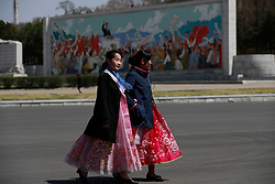 North Korean women walk together after a rehearsal for 'Day of the Sun Festival' celebrations near the Kim Il Sung Stadium in Pyongyang, North Korea, 12 April 2017. North Koreans prepare to celebrate the 'Day of the Sun Festival', 105th birthday anniversary of former North Korean supreme leader Kim Il-sung in Pyongyang on 15 April.