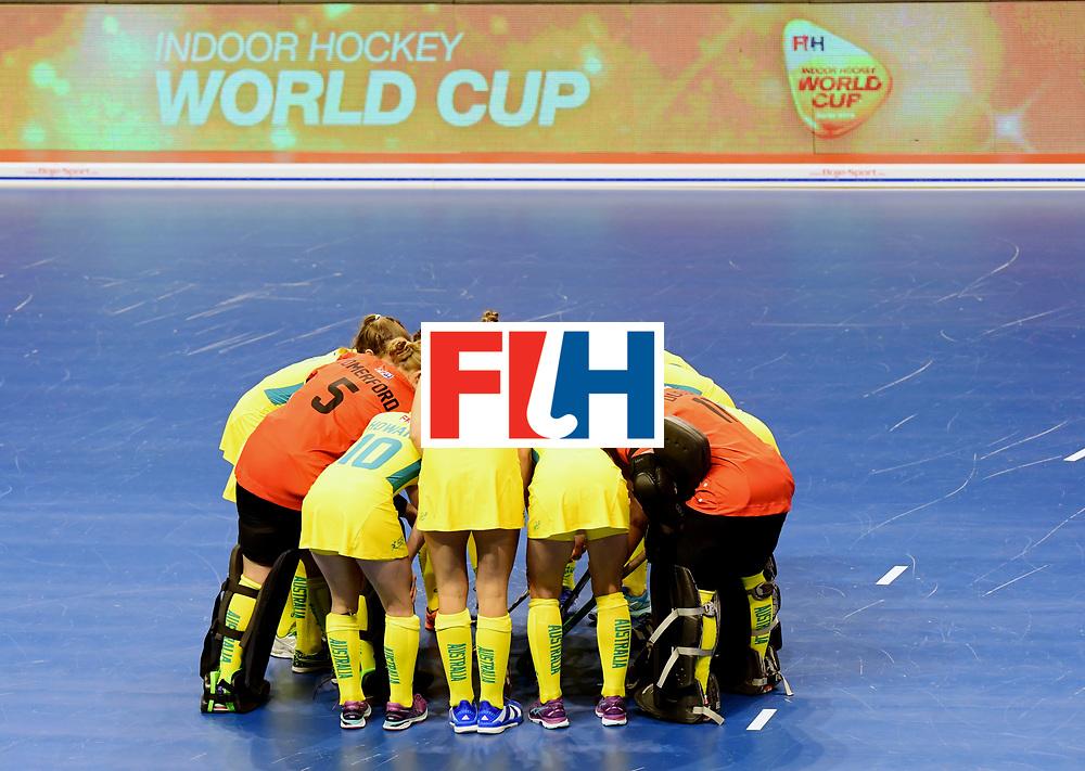 BERLIN - Indoor Hockey World Cup<br /> Women: Ukraine - Australia<br /> foto: Australian huddle.<br /> WORLDSPORTPICS COPYRIGHT FRANK UIJLENBROEK