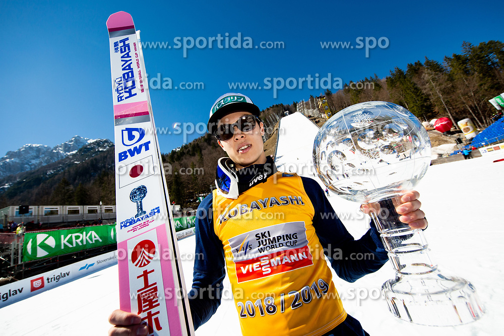 Winner Ryoyu Kobayashi (JPN) in Overall classification celebrates at trophy ceremony after the Ski Flying Hill Individual Competition at Day 4 of FIS Ski Jumping World Cup Final 2019, on March 24, 2019 in Planica, Slovenia. Photo by Vid Ponikvar / Sportida