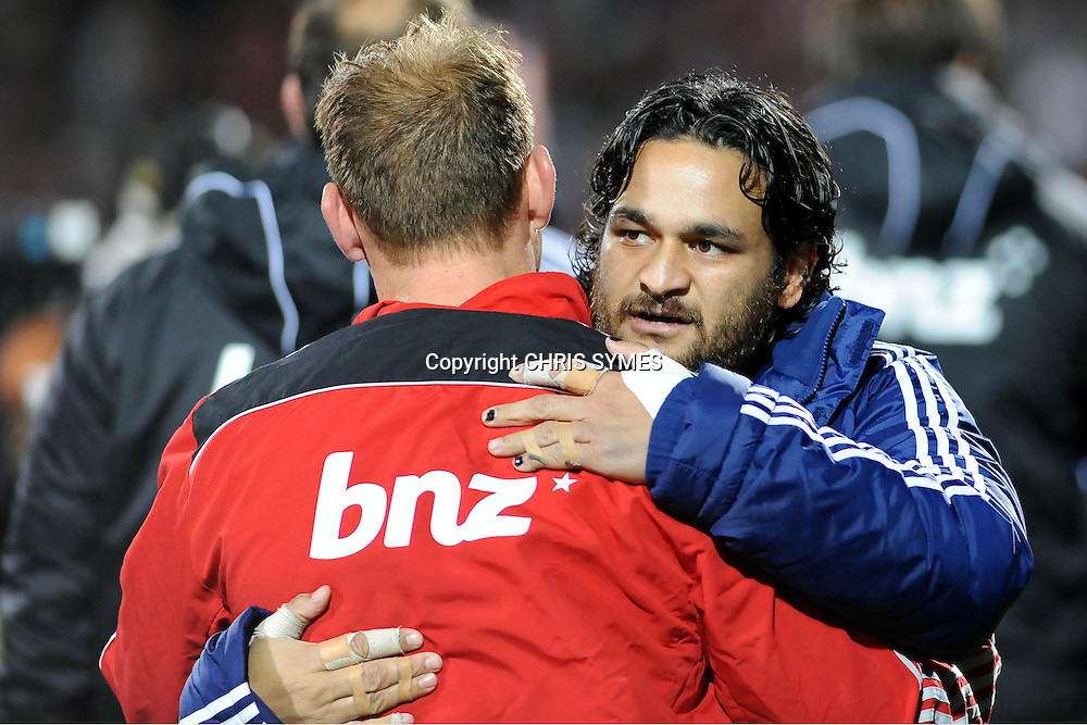 Blues Piri Weepu gives Crusader Andy Ellis a hug after their Super15 Rugby game Crusaders v Blues. New AMI Stadium, Addington, Christchurch, New Zealand. Saturday 19 May 2012. Photo: Chris Symes/www.photosport.co.nz