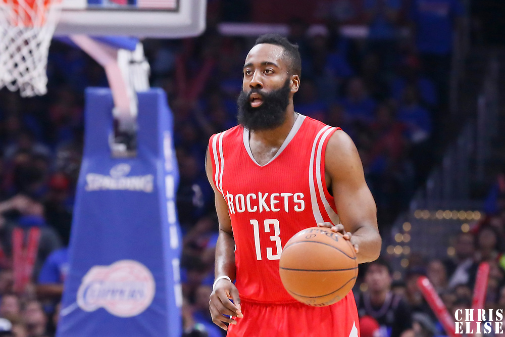 14 May 2015: Houston Rockets guard James Harden (13) brings the ball up court during the Houston Rockets 119-107 victory over the Los Angeles Clippers, in game 6 of the Western Conference semifinals, at the Staples Center, Los Angeles, California, USA.