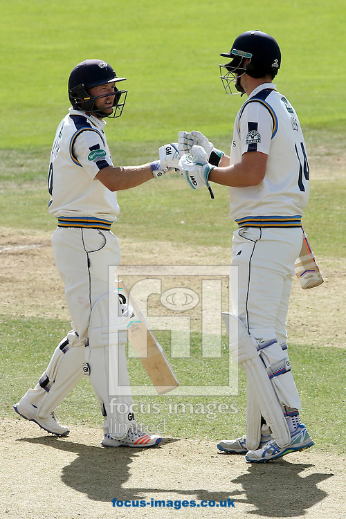 Adam Lyth of Yorkshire CCC (left) and Jack Leaning raced away during the afternoon session  during the Specsavers County C'ship Div One match at Headingley Carnegie Cricket Ground, Headingley<br /> Picture by Robert Smith/Focus Images Ltd 07837 882029<br /> 08/09/2016
