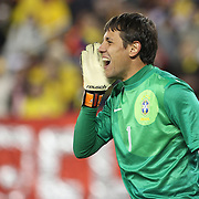Goalkeeper Diego Alves, Brazil, in action during the Brazil V Colombia International friendly football match at MetLife Stadium, New Jersey. USA. 14th November 2012. Photo Tim Clayton