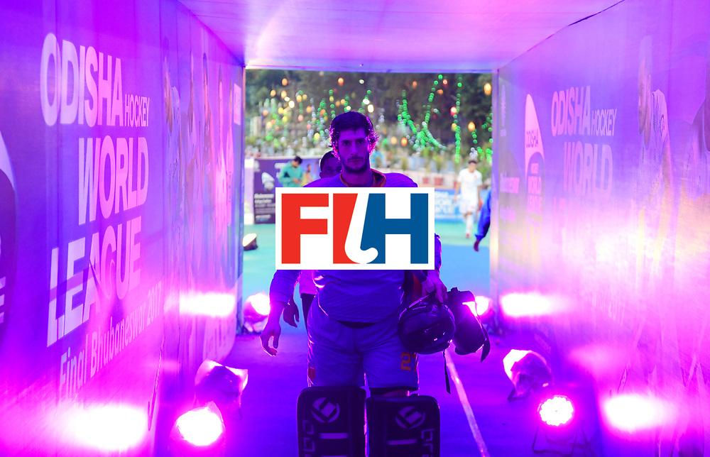 Odisha Men's Hockey World League Final Bhubaneswar 2017<br /> Match id:18<br /> Belgium v Spain<br /> Foto: keeper Alvaro Floranes (Esp)  <br /> COPYRIGHT WORLDSPORTPICS FRANK UIJLENBROEK