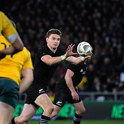Beauden Barrett takes a pass during the Rugby Championship and Bledisloe Cup rugby match between the New Zealand All Blacks and Australia Wallabies at Forsyth Barr Stadium in Dunedin, New Zealand on Saturday, 26 August 2017. Photo: Dave Lintott / lintottphoto.co.nz