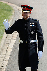 Prince Harry arrives at St George's Chapel in Windsor Castle for his wedding to Meghan Markle.