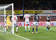 August 5th 2017, Dens Park, Dundee, Scotland; Scottish Premiership; Dundee versus Ross County; Ross County's Scott Fox makes a great save to deny Dundee's Kevin Holt