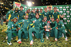 South Africa celebrate after winning the series 5-0 during the 5th ODI match between South Africa and Australia held at Newlands Stadium in Cape Town, South Africa on the 12th October  2016<br /> <br /> Photo by: Shaun Roy/ RealTime Images