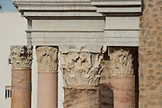 Columns of stage in Roman theatre of Cartagena, Cartagena, Murcai province, Spain