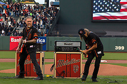 SAN FRANCISCO, CA - MAY 06: Recording artists James Hetfield and Kirk Hammett of the rock band Metallica perform the national anthem on the field before the game between the San Francisco Giants and the Colorado Rockies at AT&T Park on May 6, 2016 in San Francisco, California. The San Francisco Giants defeated the Colorado Rockies 6-4. (Photo by Jason O. Watson/Getty Images) *** Local Caption *** James Hetfield; Kirk Hammett