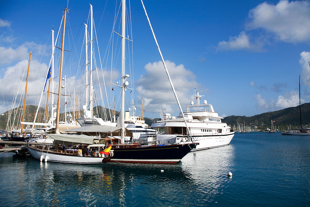 during the 2008 Antigua Classic Yacht Regatta . This race is one of the worlds most prestigious traditional yacht races. It takes place annually off the cost of Antigua in the British West Indies. Antigua is a yachting haven, historically a British navy base in the times of Nelson. Mega yachts and traditional boats sit on the dock of Antigua Yacht Club in Falmouth Harbor,  Antigua in the British West Indies. Antigua is a yachting haven, historically a British navy base in the times of Nelson.
