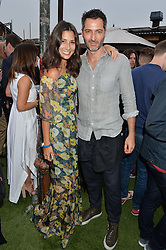NICK HOPPER and JASMINE HEMSLEY at the Warner Music Group & GQ Summer Drinks hosted in asociation with Quintessentially at Shoreditch House, Ebor Street, London on 6th July 2016.