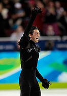 United States' Evan Lysacek pumps his fist after performing his short program in the men's figure skating at the 2010 Winter Olympics at Pacific Coliseum in Vancouver, Canada on February 16, 2010.    (UPI)