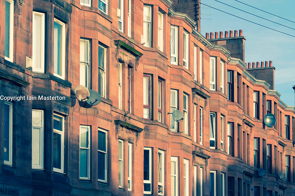 View of typical red sandstone tenement apartment building in Govanhill district of Glasgow, Scotland, United Kingdom