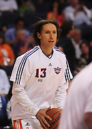 Apr 18, 2010; Phoenix, AZ, USA; Phoenix Suns guard Steve Nash (13) warms up prior to the first quarter of game one in the first round of the 2010 NBA playoffs at the US Airways Arena.  Mandatory Credit: Jennifer Stewart-US PRESSWIRE