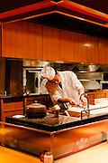 Counter and open kitchen at Kigawa restaurant.