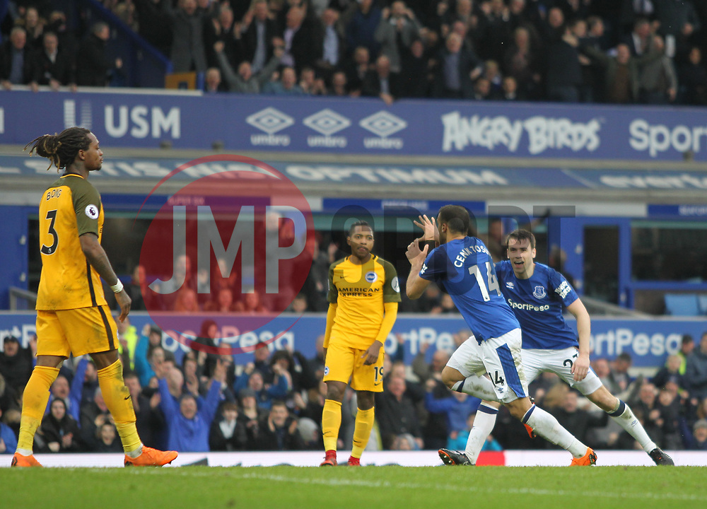 Cenk Tosun of Everton (C) celebrates after scoring his sides second goal - Mandatory by-line: Jack Phillips/JMP - 10/03/2018 - FOOTBALL - Goodison Park - Liverpool, England - Everton v Brighton and Hove Albion - English Premier League