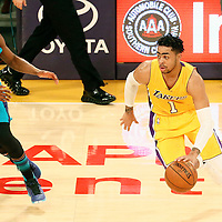28 February 2017: Los Angeles Lakers guard D'Angelo Russell (1) drives past Charlotte Hornets guard Kemba Walker (15) during the Charlotte Hornets 109-104 victory over the LA Lakers, at the Staples Center, Los Angeles, California, USA.