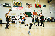 Vermont's Trae Bell-Haynes (2) leads the team onto the court for warm ups during the men's basketball game between the Dartmouth Big Green and the Vermont Catamounts at Patrick Gym on Wednesday December 7, 2016 in Burlington (BRIAN JENKINS/for the FREE PRESS)