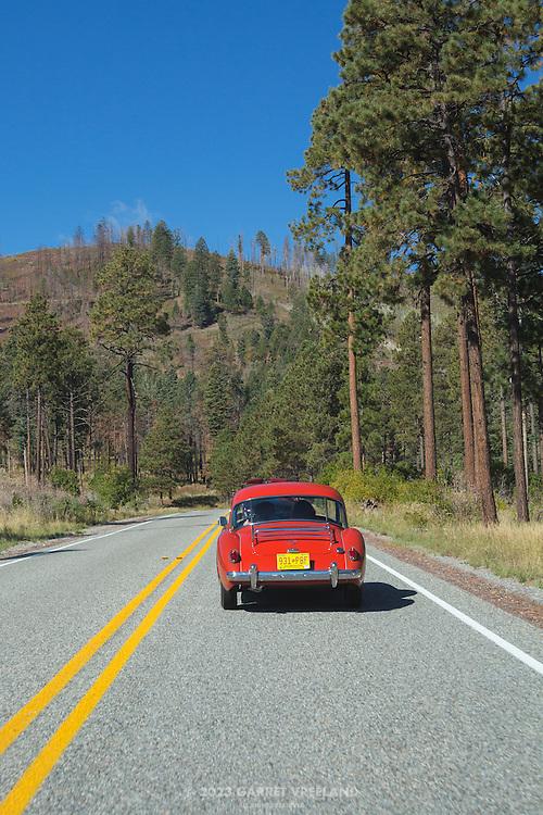 On the scenic road to the Valles Caldera, 2012 Santa Fe Concorso High Mountain Tour.