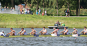 Rotterdam. Netherlands.  Junior Men's Eights Final.  Bronze Medalist GBR JM8+. Bow. Charlie PEARSON, Oskar ARZT-JONES, Dom JACKSON, Oliver AYRES, Patrick ADAMS, Benedict ALDOUS, Seb BENZECRY, Felix DRINKALL and Cox. Vlad SAIGAU,  2016 JWRC,  {WRCH2016}  at the Willem-Alexander Baan.   Sunay 28 /08/2016 <br /> <br /> [Mandatory Credit; Peter SPURRIER/Intersport Images]