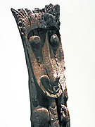 Housepost.  Latmul people, Sepik River, Papua New Guinea 1900-1950.  Men's cult houses dominate Latmul villages.  They are up to 120 feet in length with two floors and towering gables at either end.  They are lavishly decorated in a society that once emphasised male welfare and head-hunting.
