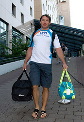 World Champion athlete Primoz Kozmus of Slovenia at departure back to Slovenia during day five of the 12th IAAF World Athletics Championships at the Hotel Estrel on August 18, 2009 in Berlin, Germany. (Photo by Vid Ponikvar / Sportida)