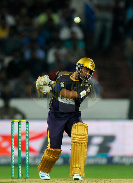 Robin Uthappa of Kolkata Knight Riders leaves a ball as he bats during match 7 of the Oppo Champions League Twenty20 between the Kolkata Knight Riders and the Lahore Lions held at the Rajiv Gandhi Cricket Stadium, Hyderabad, India on the 21st September 2014<br /> <br /> Photo by:  Pal Pillai / Sportzpics/ CLT20<br /> <br /> <br /> Image use is subject to the terms and conditions as laid out by the BCCI/ CLT20.  The terms and conditions can be downloaded here:<br /> <br /> http://sportzpics.photoshelter.com/gallery/CLT20-Image-Terms-and-Conditions-2014/G0000IfNJn535VPU/C0000QhhKadWcjYs