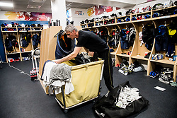 Milan Dragan cleaning Dressing room of Team Slovenia at the 2017 IIHF Men's World Championship, on May 11, 2017 in AccorHotels Arena in Paris, France. Photo by Vid Ponikvar / Sportida
