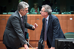 (L-R) Austria's Finance Minister HansJoerg Schelling and Luxembourg's Finance Minister Pierre Gramegna speaks during an emergency Eurogroup finance ministers meeting at the European Council in Brussels, Belgium on 20.02.2015 Eurogroup head Jeroen Dijsselbloem was working overtime on February 20 to save a make-or-break meeting on Greece's demand to ease its bailout programme as Germany insisted it stick with its austerity commitments after days of sharp exchanges, the 19 eurozone finance ministers gathered for the third time in little over a week to consider Athens' take-it or leave-it proposal to extend an EU loan programme which expires this month. by Wiktor Dabkowski. EXPA Pictures © 2015, PhotoCredit: EXPA/ Photoshot/ Wiktor Dabkowski<br /> <br /> *****ATTENTION - for AUT, SLO, CRO, SRB, BIH, MAZ only*****