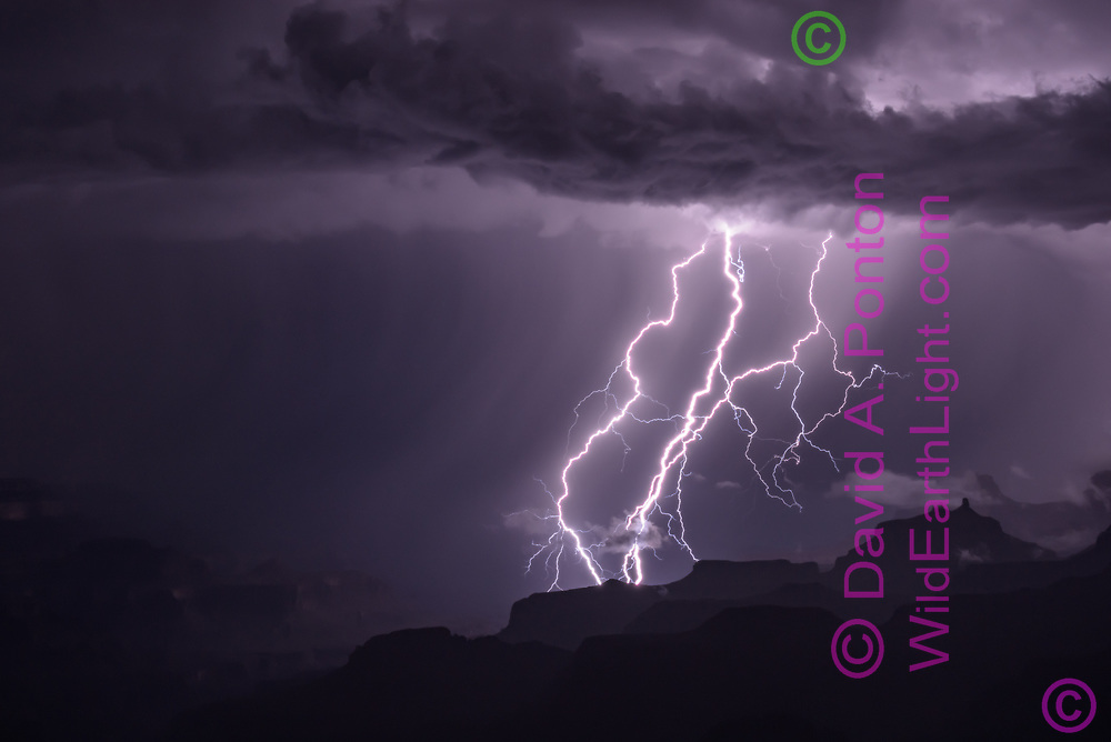Simultaneous cloud-to-ground lightning bolts, with a storm cloud overhead and formations on the north side of the Grand Canyon, © 2018 David A. Ponton