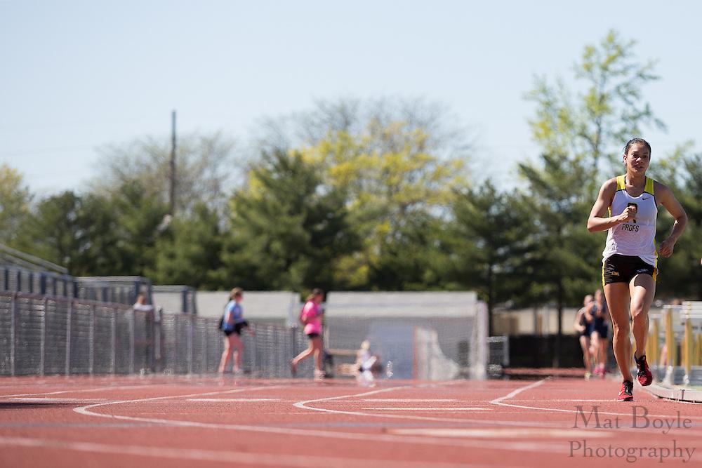 Rowan University's Vanessa Wright wins the women's 10000 meter at the NJAC Track and Field Championships at Richard Wacker Stadium on the campus of  Rowan University  in Glassboro, NJ on Saturday May 4, 2013. (photo / Mat Boyle)