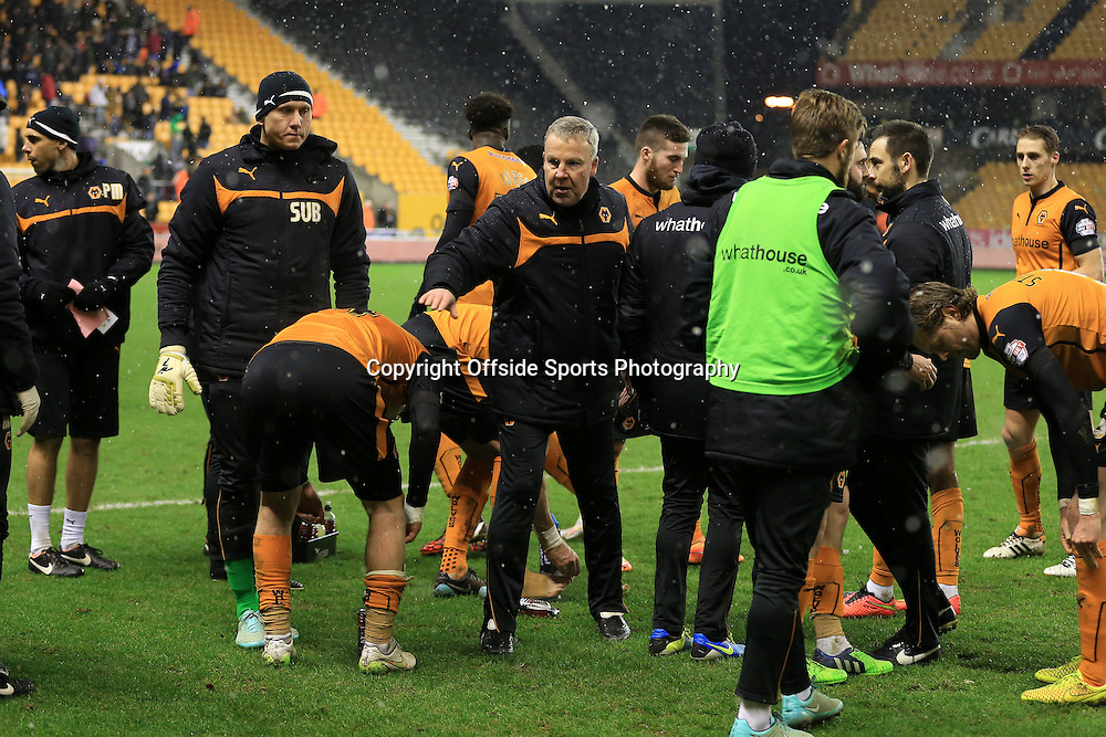 13th January 2015 - FA Cup - 3rd Round Replay - Wolverhampton Wanderers v Fulham - Wolves manager Kenny Jackett rallies his players before extra time - Photo: Simon Stacpoole / Offside.