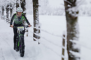 Amber Stull from the USA during stage 5 of the first Snow Epic, the Trübsee climb near Engelberg, in the heart of the Swiss Alps, Switzerland on the 17th January 2015<br /> <br /> <br /> Photo by:  Marc Gasch / Snow Epic / SPORTZPICS