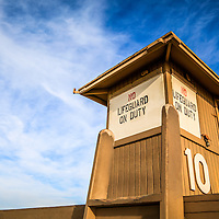 Lifeguard hut on Balboa Peninsula in Newport Beach in Orange County Southern California in the USA. Has copy space for adding text.