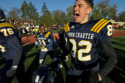 The sun sets on the East Falls campus of William Penn Charter School. On a brand new field students in Blue and Yellow celebrate. On Saturday the 129th rendition of the oldest boys&rsquo; school rivalry ended in a 45-17 victory for the Quakers over the Germantown Academy Patriots.<br /> <br /> The Competition Cup for the overall win of the 2015 PC-GA day goes to the Quakers after winning the golf, Girls Tennis, Boys Water Polo, Boys Soccer and Football competitions. The Girls soccer game ended in a tie, Boys and girls Cross Country, Field Hockey and Girls Water Polo are won by Germantown Academy.<br /> <br /> QuarterBack Michael Hnatkowsky takes home the game ball for MVP after a school record total of 390 passing yards.<br /> <br /> See the gallery on WHYY's NewsWorks for a selection of the best images from this shoot: http://www.newsworks.org/index.php/local/item/88226-129th-annual-penn-charter-germantown-academy-day-continues-long-tradition-of-rivalry-photos