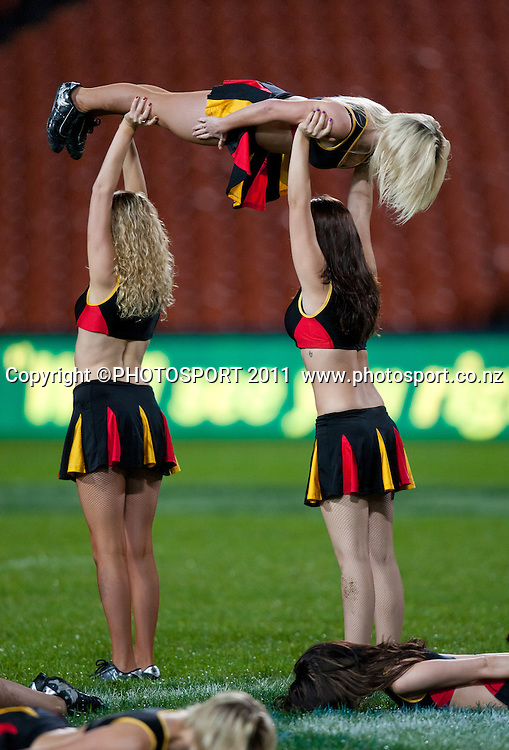 Chiefs cheerleaders perform a plank routine before the Super 15 rugby match between the Chiefs and Hurricanes, an 18-18 draw, at Waikato Stadium, Hamilton, New Zealand. Friday 10 June 2011. Photo: Stephen Barker/PHOTOSPORT