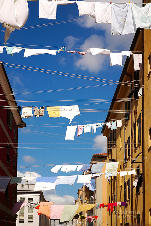 Clothes drying by the sun at Italian town