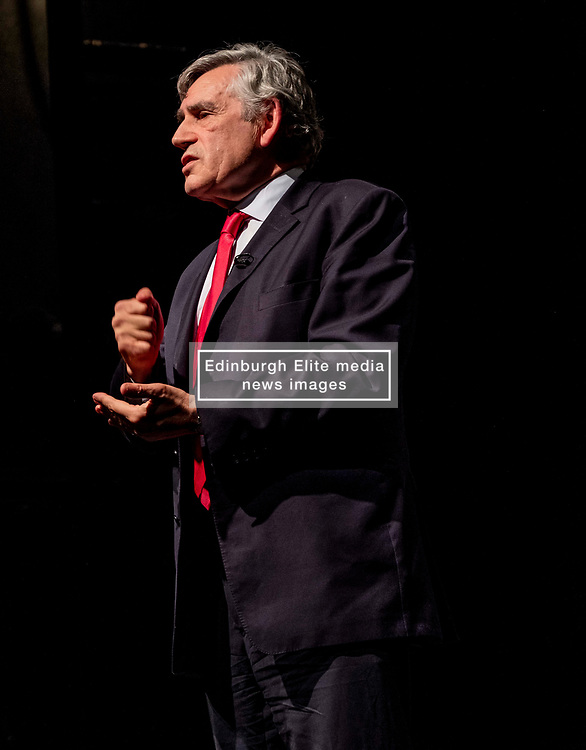 Pictured: Gordon Brown<br /><br />Former Prime Minister Gordon Brown joined Scottish Labour MP Ian Murray; Scottish Labour MSP Daniel Johnson; Elaine Motion of legal firm Balfour+Manson who represents 78 MPs and peers in the prorogue petition; and Louise Gilmour, GMB Scotland senior organiser in manufacturing. at the Churh Hill Theatre in Edinburgh today for a 'No to No-Deal Rally' with campaign group 'HOPE not hate' and GMB Scotland.<br /><br />Ger Harley | EEm 12 September 2019