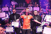 Geert Nentjes walk on during the PDC William Hill Darts World Championship at Alexandra Palace, London, United Kingdom on 13 December 2019.